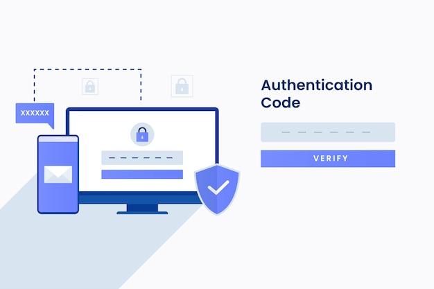 Authenticatiecode illustratie voor site. illustratie Premium Vector