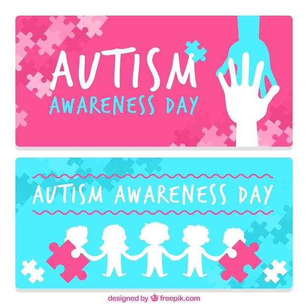 Autisme banners dag feest Gratis Vector