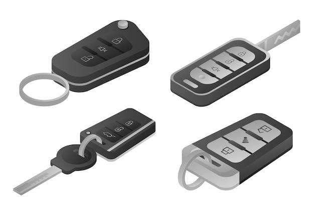 Auto alarmsysteem iconen set, isometrische stijl Premium Vector