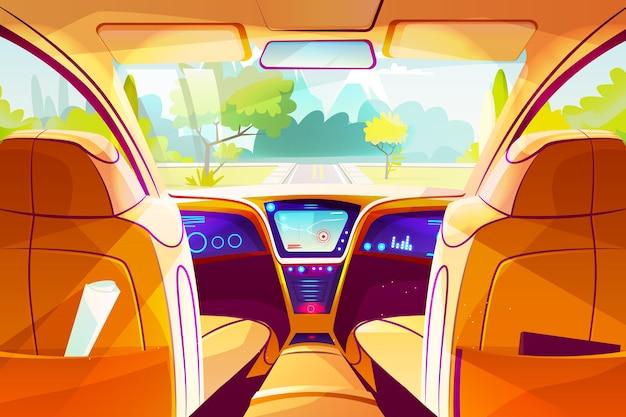 Auto binnen illustratie van slimme autonome auto cartoon ontwerp van dashboard van het voertuig Gratis Vector