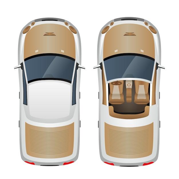 Auto bovenaanzicht Premium Vector