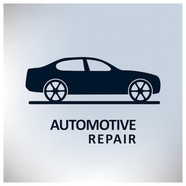 Auto center auto repair service auto grijze achtergrond Gratis Vector