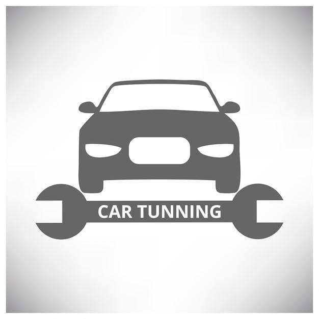 Auto center auto repair service tools en auto grijze achtergrond Gratis Vector