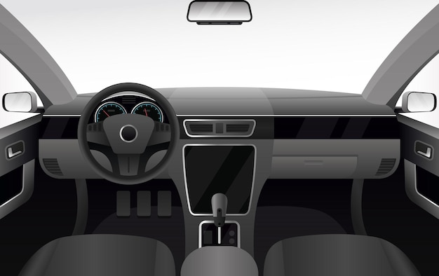 Auto dashboard, auto salon interieur illustratie. auto cabine cartoon met windshiel Premium Vector