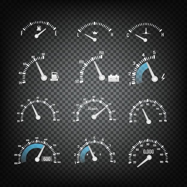 Auto dashboard configuratiescherm elements collection Gratis Vector