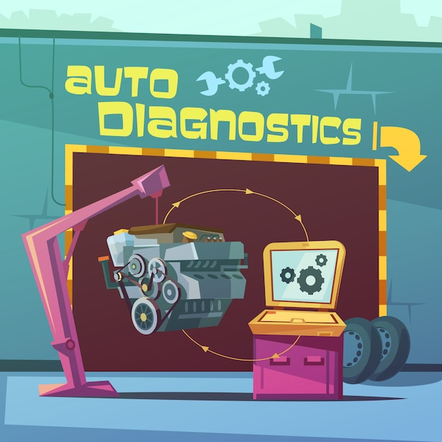 Auto diagnostiek cartoon achtergrond Gratis Vector