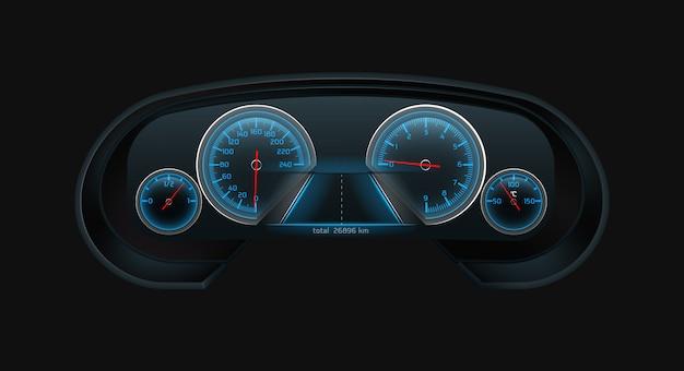 Auto digitaal dashboardscherm met gloeiende blauwe snelheidsmeter, toerenteller, brandstofniveau, motortemperatuurindicaties, weegschalen realistisch Gratis Vector