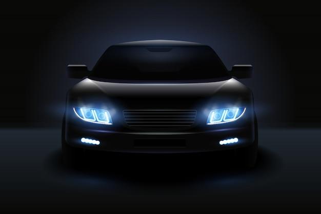 Auto geleide lichten realistische samenstelling met donker silhouet van auto met gedimde koplampen en schaduwenillustratie Gratis Vector