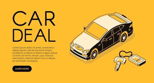 Auto handel deal illustratie van automotive verkopen en kopen service-agentschap of dealer bedrijf. Gratis Vector