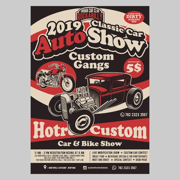 Auto hotrod flyer-sjabloon weergeven Premium Vector
