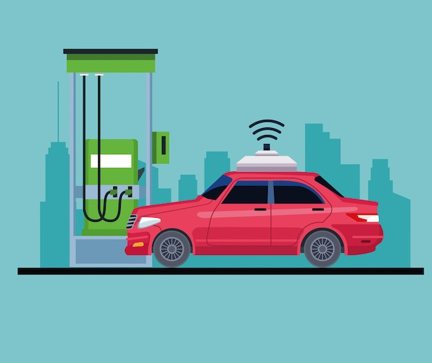 Auto in een benzinestation pictogram Gratis Vector