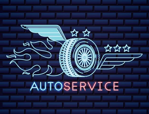 Auto-industrie neonreclame Gratis Vector