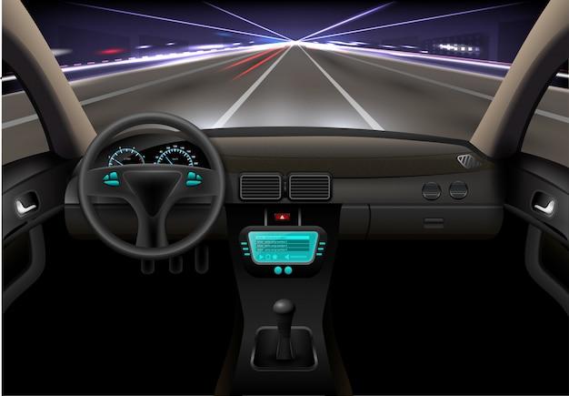 auto interieur nacht gratis vector