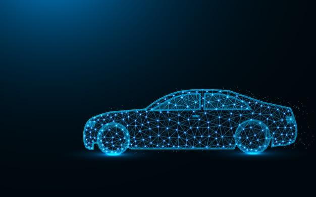 Auto laag poly ontwerp, transport abstract geometrisch beeld, rijden draadframe mesh veelhoekige vector illustratie gemaakt van punten en lijnen Premium Vector