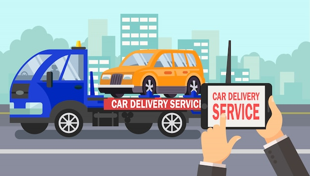 Auto levering business vector kleur illustratie Premium Vector