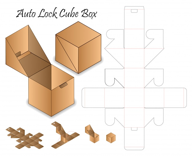 Auto lock box verpakking gestanst sjabloonontwerp. 3d-model Premium Vector