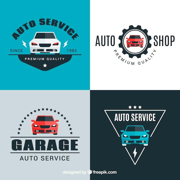 Auto logo set van vier Gratis Vector