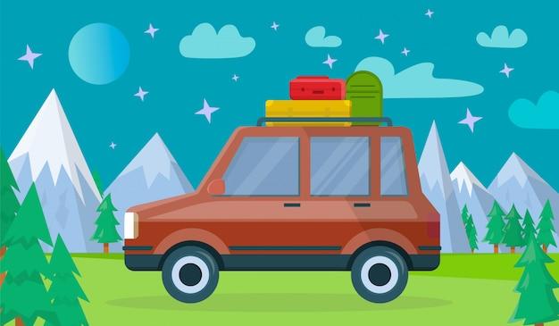 Auto met bagage bij nighty mountains-achtergrond Premium Vector