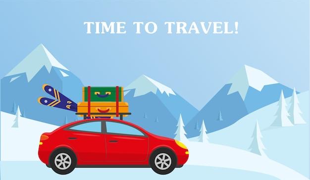 Auto met koffers en luchten Premium Vector
