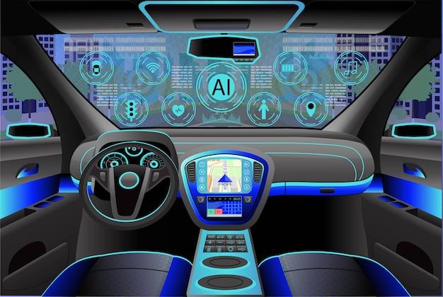 Auto modern interieur, cockpitzicht binnen. illustratie. kunstmatige intelligentie Premium Vector