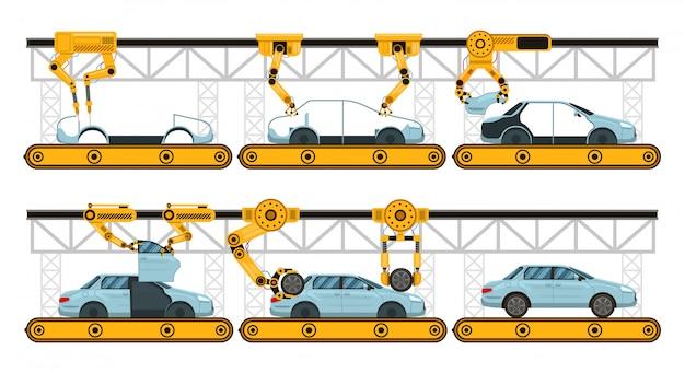 Auto montage. fabriek auto assemblage transportband, fabricage robotarmen automotive, industriële automatisering proces illustratie set. automatische robottransportband, montagearmproces Premium Vector