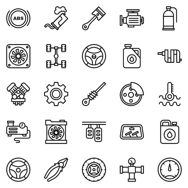 Auto motor icon pack, met overzicht pictogramstijl Premium Vector