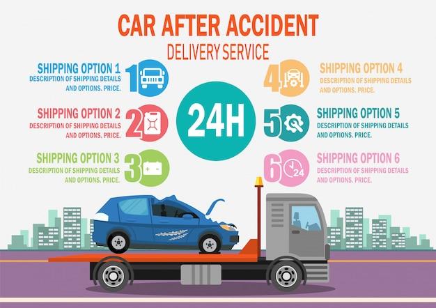 Auto na ongevallenbezorgservice. vector. Premium Vector