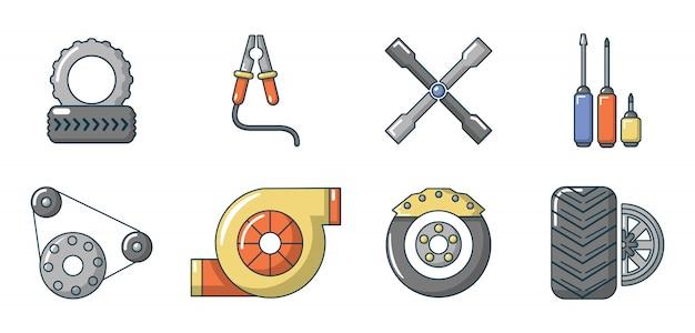 Auto-onderdelen pictogramserie. beeldverhaalreeks vectorpictogrammen van autodelen geplaatst geïsoleerd Premium Vector
