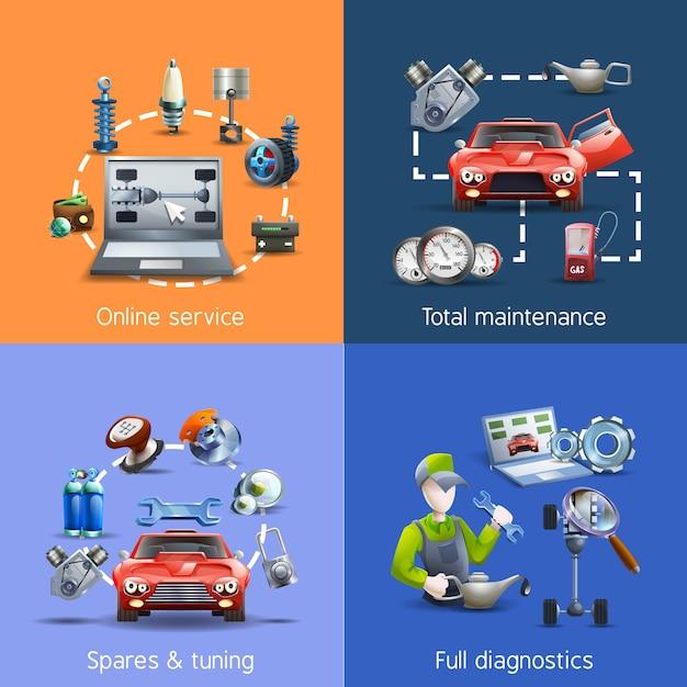 Auto onderhoud cartoon pictogrammen instellen Gratis Vector