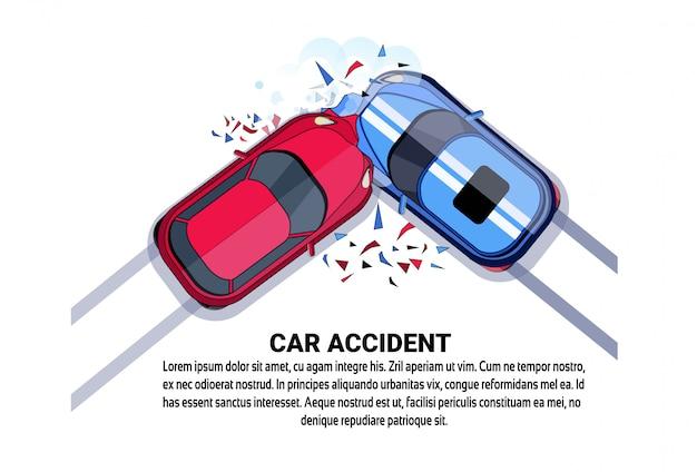 Auto-ongeluk bovenaanzicht voertuigbotsing pictogram boven wit Premium Vector