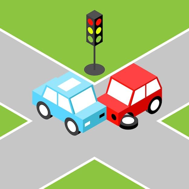 Auto-ongeluk isometrisch Premium Vector
