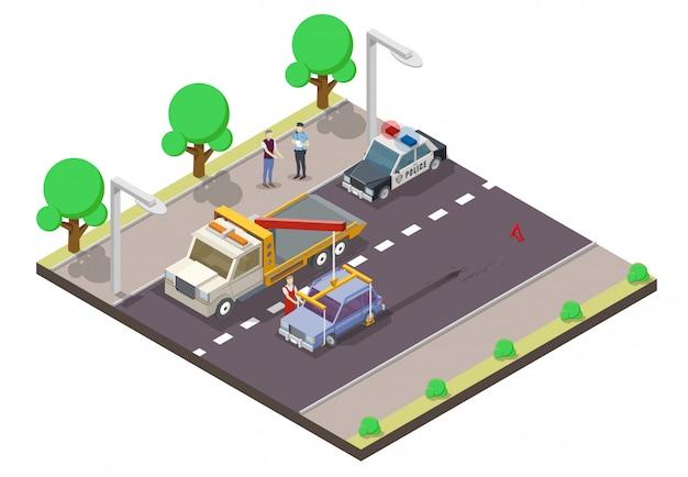Auto-ongeluk platte isometrische illustratie Premium Vector