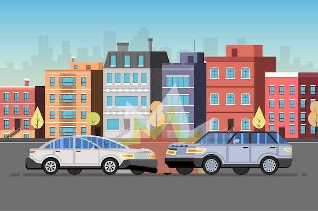 Auto ongeluk. stad binnenstad landschap Premium Vector