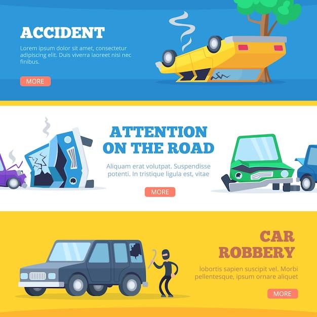 Auto ongelukken. beschadigde en kapotte autoscène van foto's van autocars voor banners Premium Vector