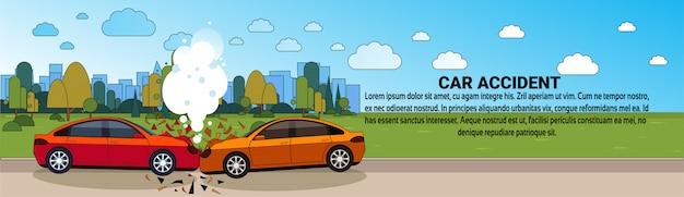 Auto-ongevallenongeluk op wegbotsing botsing concept horizontale sjabloon voor spandoek Premium Vector