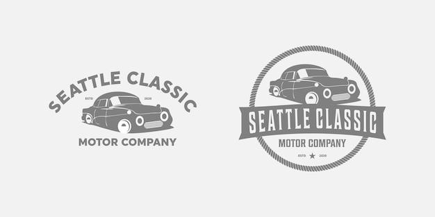 Auto oude vintage logo ontwerp premium Premium Vector