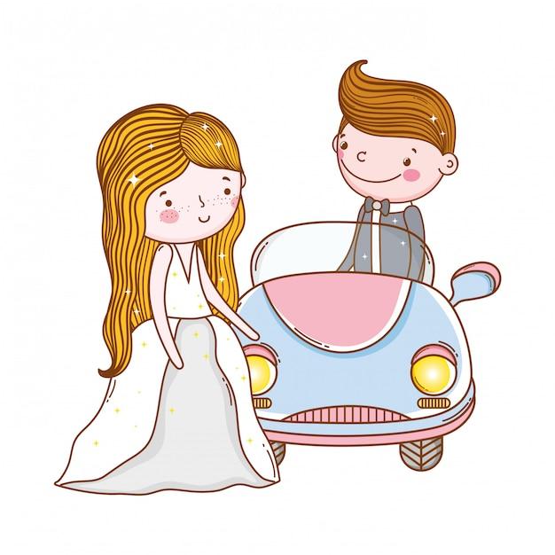 Auto paar huwelijk cute cartoon Premium Vector