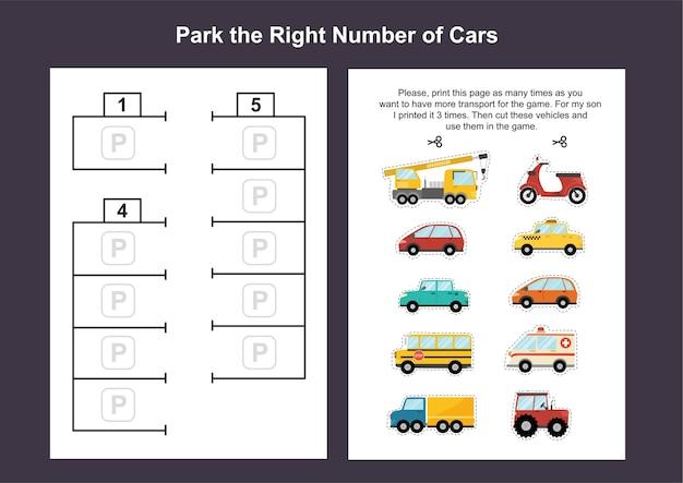 Auto parkeerplaats afdrukbare spelsjabloon voor kinderen. knip de auto's uit en zet ze op de parkeerplaats. a4-werkbladen met activiteitenpagina's voor peuters. Premium Vector