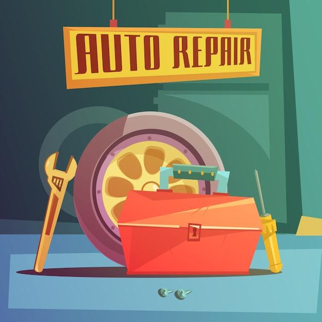 Auto reparatie cartoon achtergrond Gratis Vector