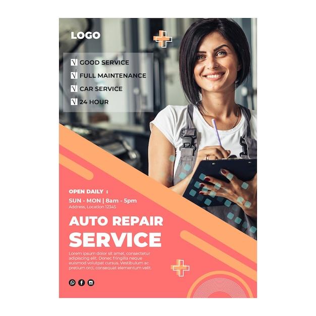 Auto reparatie monteur poster Gratis Vector