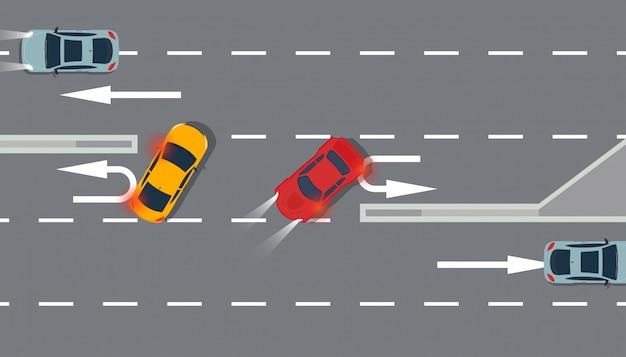 Auto rood en geel bovenaanzicht illustratie verkeer weg. Premium Vector