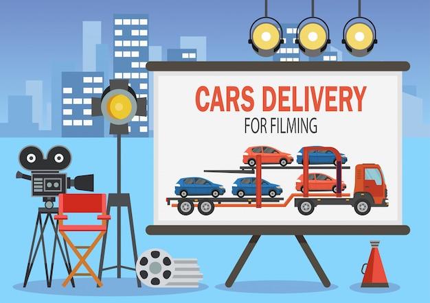 Auto's bezorgen voor filmen. vector illustratie. Premium Vector