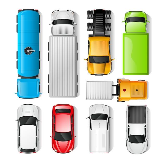Auto's bovenaanzicht Gratis Vector