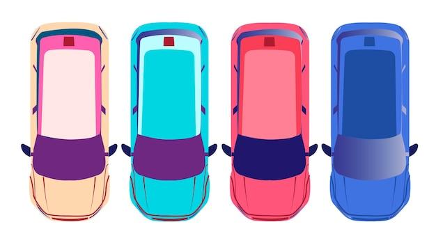 Auto's geïsoleerde vectorillustratie Premium Vector