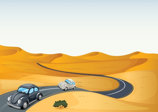 Auto's in een woestijn Gratis Vector