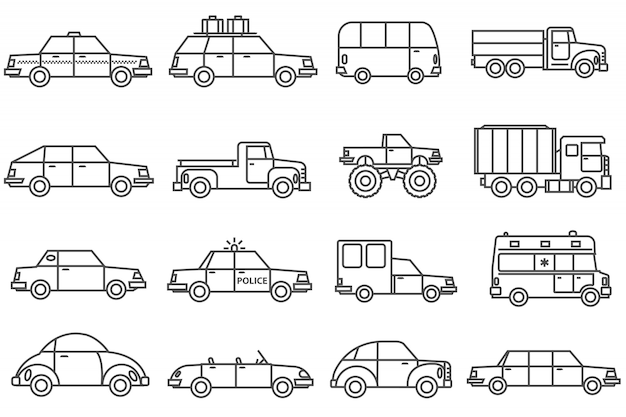 Auto's lijn icons set Gratis Vector