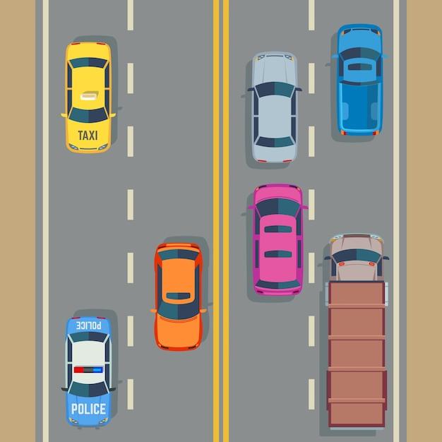 Auto's naadloos vectorverkeer als achtergrond en weg Premium Vector
