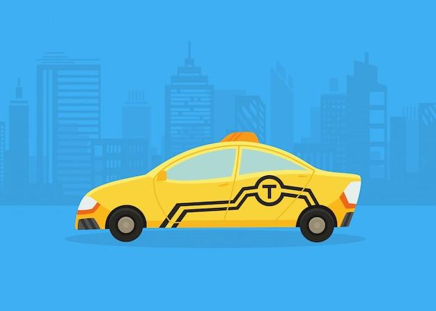 Auto's op het panorama van de stad. taxi service. gele taxi. taxitoepassing, stadssilhouet met wolkenkrabbers en torens. Premium Vector