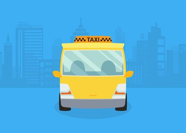 Auto's op het panorama van de stad. taxi service. gele taxi. Premium Vector