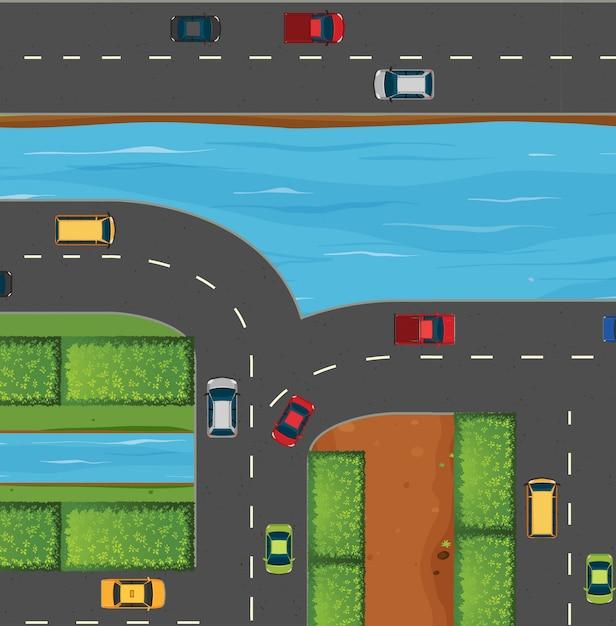 Auto's op weg langs de rivier Premium Vector